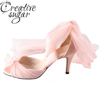 Creativesugar Handmade watercolor peach nude blush bridal shoes tulle soft gauze ankle leg strap pumps wedding party quinceanera