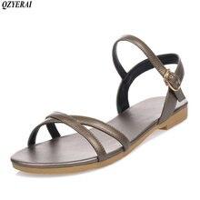 QZYZRAI 2018 Genuína Sapatos de Couro Sandálias Das Mulheres Novas Sexy Flip Flops senhoras planas mulher verão sapatos de praia
