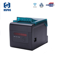 Pos 80mm qr code printer wifi desktop printer cutter with dustproof cover kitchen order alarm printing receipts machine quality