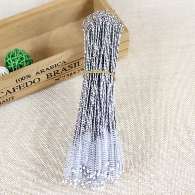 100pcs//lot Straw brush nylon catheter stainless steel straw brush 17.5cm fit…