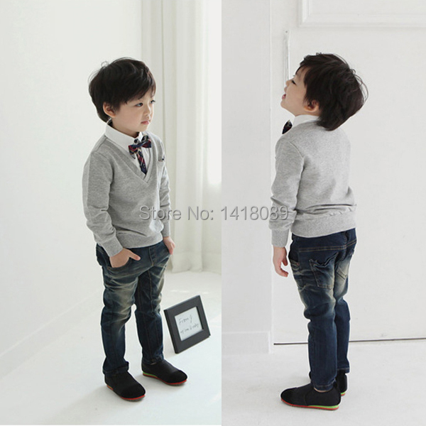 2017 New Kids Boys School Bow Tie Long Sleeve Pullover Sweater Knit Wear Knitted 1-4T
