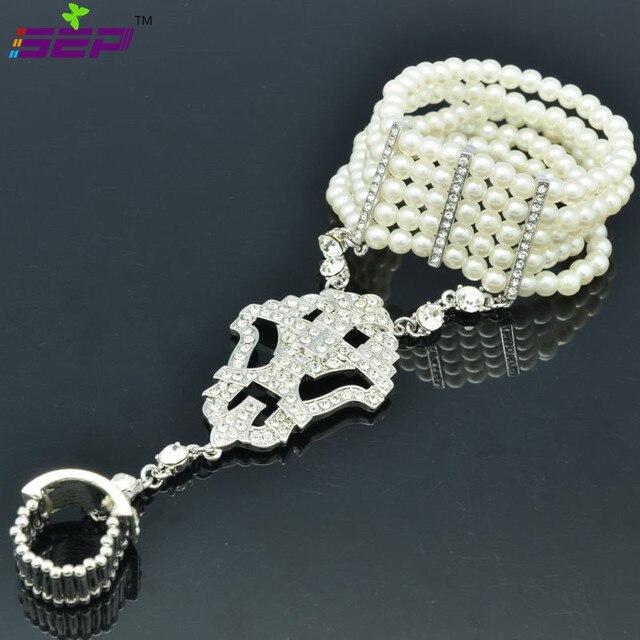 Flower Bracelet Ring Set Imitation Pearls Bridal Jewelry Rings Stretch W/ Rhinestone Crystal Free Shipping 9726