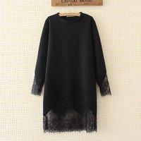 Plus Size 4XL Lace Decoration Women Long Autumn Winter Hoodies 2017 Fashion Black Pullovers O Neck