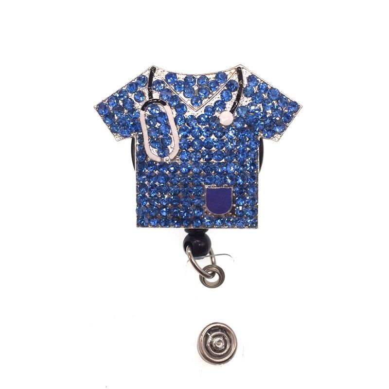 50/100 pcs/lot nouveau design strass brillant costume d'allaitement médical mignon rétractable ID Badge titulaire bobine pour infirmière