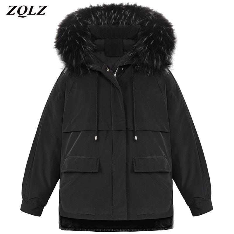 Zqlz Winter Hooded Black Padded Jacket Women Large Size Short Paragraph Loose Fur Collar   Parka   Mujer Down Cotton Female Coat