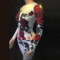 2 цвета многоцветный Rose Цветочный комбинезон певица Вечеринка стрейч Стразы Костюм сценическая одежда праздничный комбинезон DWY1372