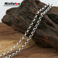 Authentic 100 925 Sterling Silver Classic Vintage 4 0mm Round Link Necklace Chain Jewelry For Women