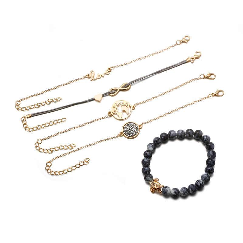S115 5 sztuk/zestaw Boho bransoletka Worldmap liny wisiorek zroszony bransoletki dla kobiet urok wesele biżuteria bransoletka Femme Pulseira