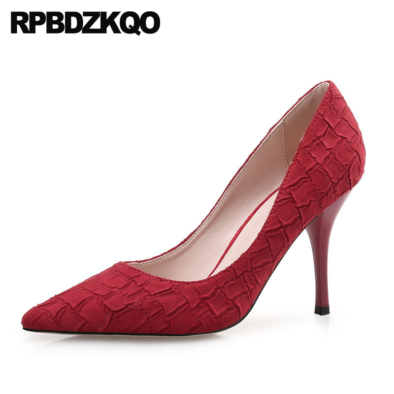 Gray Canvas Shoes Women High Heels Size 4 34 Pumps Party Red Medium Pointed Toe Snake Fashion 8cm 2018 Scarpin Special Snakeskin