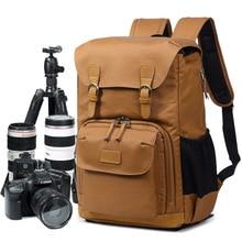 купить Professional Camera Shoulders Backpack Durable Canvas Waterproof Tripod Travel Casual DSLR Men's Case Bag fit for 15in Laptop дешево