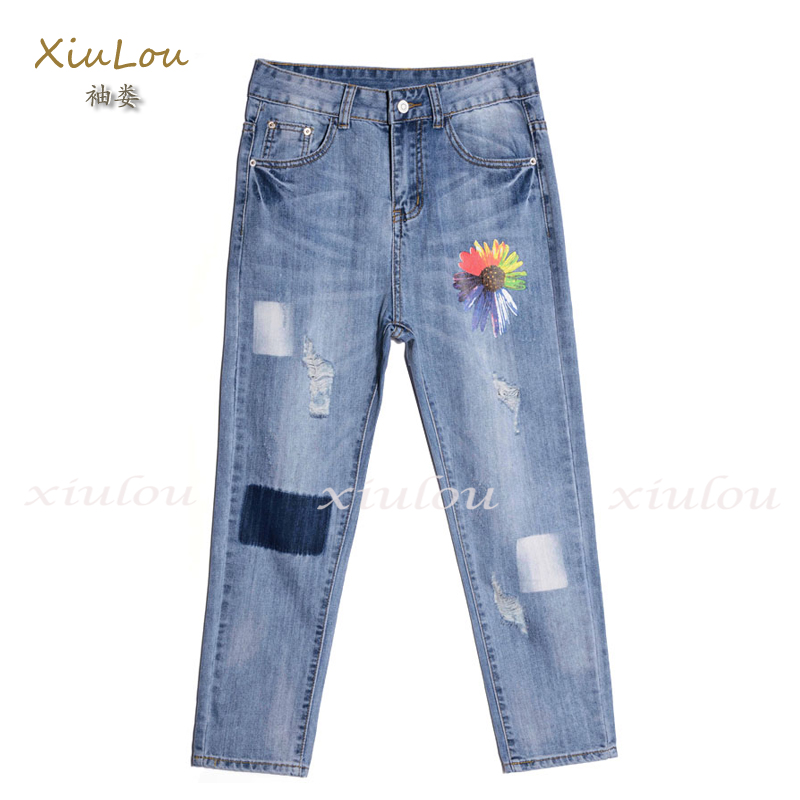 ФОТО ripped jeans for women fashion Leisure denim harem pants cotton stretch jeans women