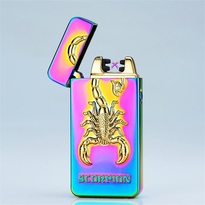 New Arrival Scorpion 3D Pattern Lighter Pulse Double Arc Cigarette Lighter USB Charging for Men