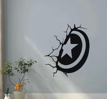 Wall Decal Captain America Shield Vinyl Wall Sticker Marvel Comics Interior House decoration Kids Removable Home Art Decor WW-82 road wall decal highway vinyl sticker street wall art kids racing road bedroom living roon home decoration removable diy ww 182