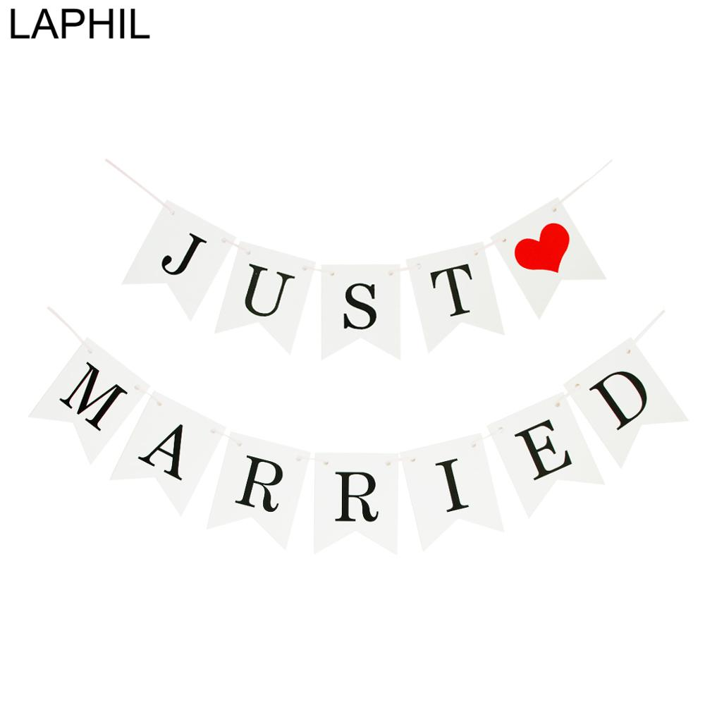 LAPHIL Wedding Decoration White Just Married Banner Mr Mrs Wedding Bunting Garland Photobooth Props Wedding Event Party Supplies(China)