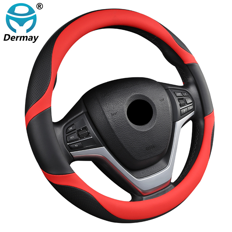 DERMAY 6 Colors Car Steering Wheel Cover Micro Fiber Leather Splicing Color for BMW E90 E63 E64 BMW X5 g05 E53 E70 F15 6 Series|Steering Covers|Automobiles & Motorcycles - title=