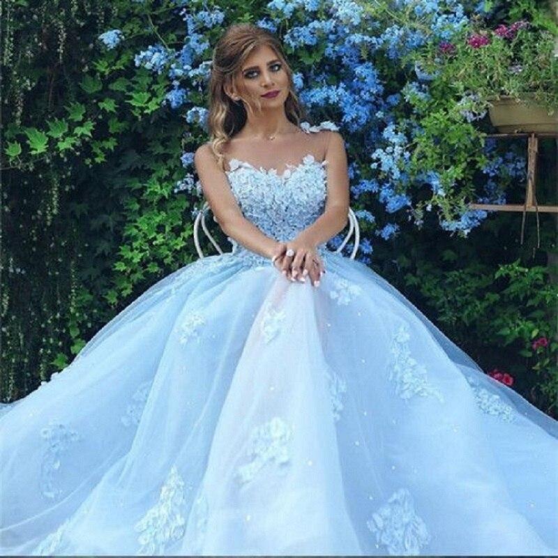 Robe de mariée bleu clair Boho dentelle Applique sans manches une ligne Vestidos de Novia 2019 robe de mariée Vestido de Festa Longo - 2