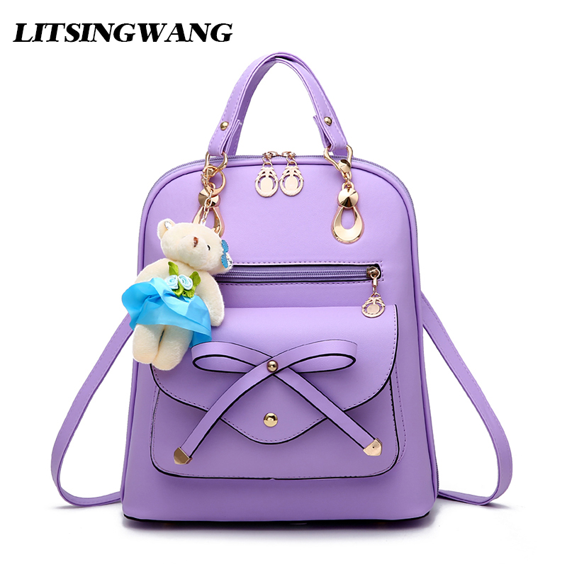 LITSINGWANG 2017NEW Women PU Leather Backpack Female Fashion Bow Backpacks Student Schoolbag Small Bags For Girls