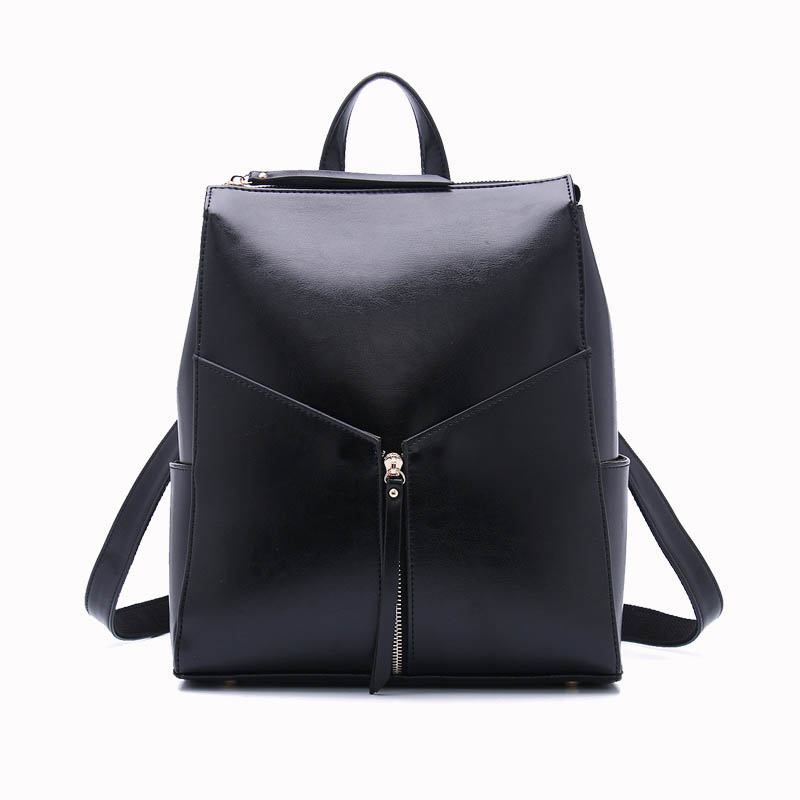 Fashion Color Cow Split Leather Casual Women's Backpacks Brief Style Knapsack Ladies Pocket Girl Schoolbag-in Backpacks from Luggage & Bags    1