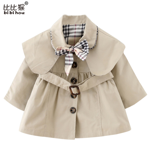 New 2016 Baby Girl Clothing Coat Spring Autumn Kids Clothes Wind Coat Cotton Windbreaker Outfits Children Clothing 1-4yrs Wear