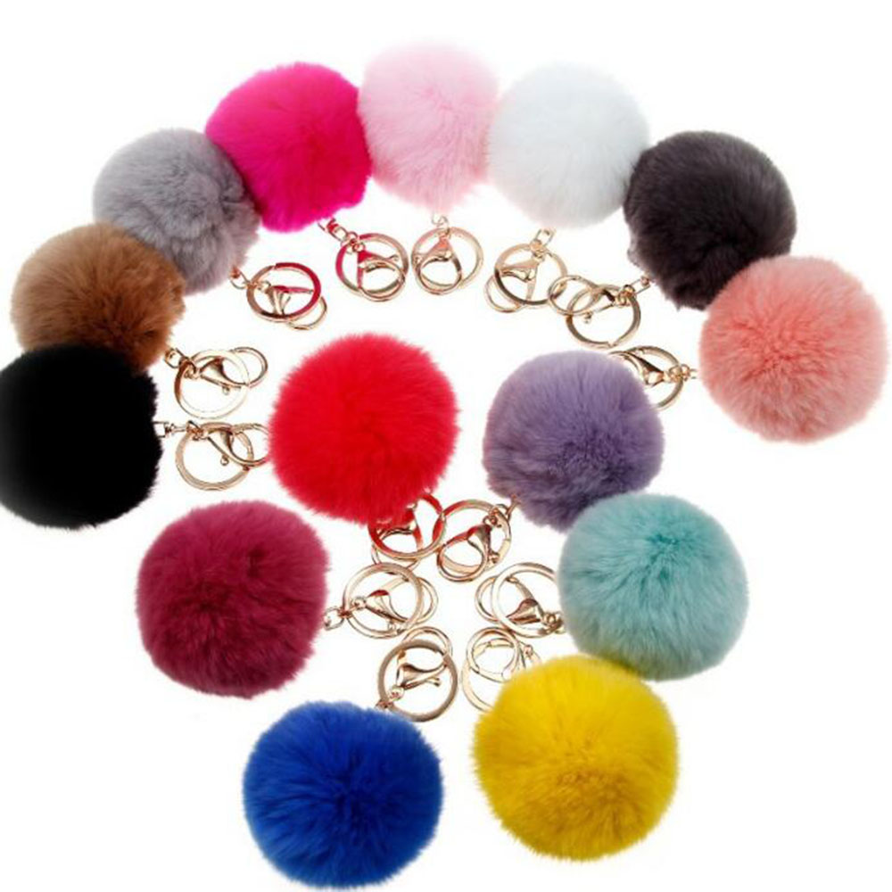 2016 New 16 ColorS trinket Keychain Pompons Keychains Fur Keychain Fluffy Key Chains For Cars Keyrings Trinkets Pom Pom Keychain