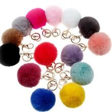 2016 New 16 ColorS trinket Keychain Pompons Keychains Fur Keychain Fluffy Key Chains For Cars Keyrings Trinkets Pom Pom Keychain
