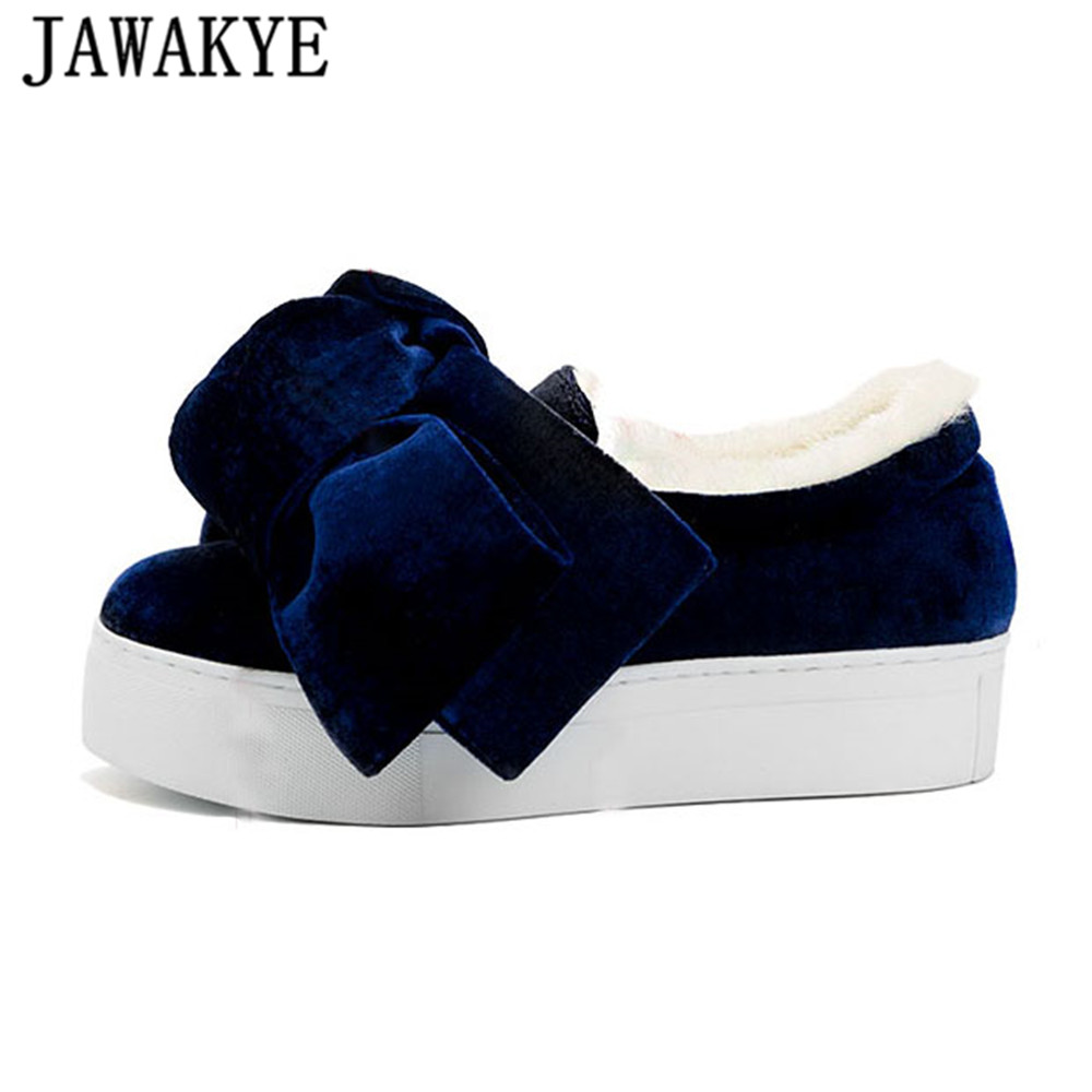 JAWAKYE New velvet warm wool snow boots for Women platform flat heel big butterfly knot decor thick Bottom girls Causal Shoes 2016 winter new soft bottom solid color baby shoes for little boys and girls plus velvet warm baby toddler shoes free shipping
