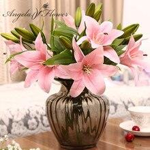 HI Q 11 sztuk 3 głowice prawdziwy dotyk pcv sztuczny lilia jedwabny dekoracyjny kwiat na ślub dekoracje bożonarodzeniowe na prezent