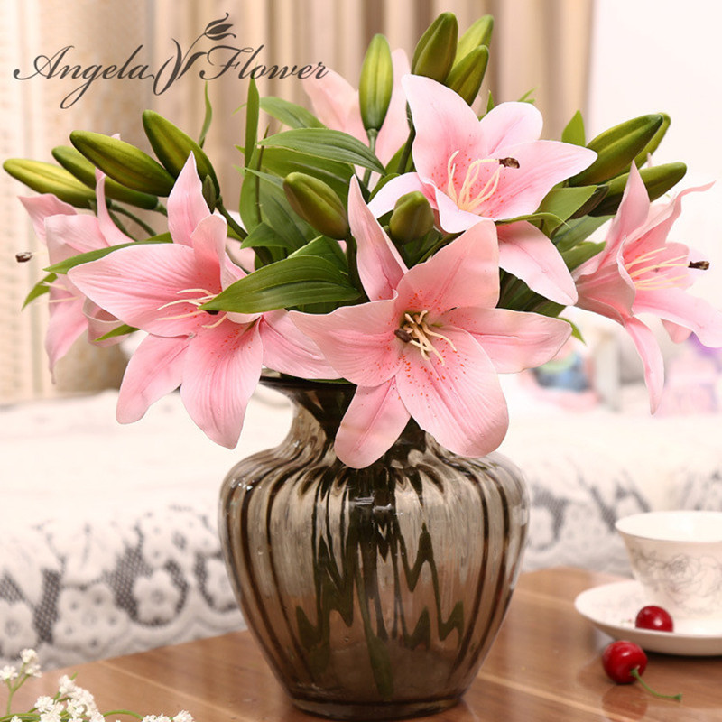 Image 1 - HI Q 11pcs 3 heads real touch PVC artificial  lily silk decorative flower for wedding decoration Christmas gift-in Artificial & Dried Flowers from Home & Garden