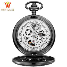 OUYAWEI NEW Arrival Mens Fashion Mechanical Skeleton Pocket Watch Hand Wind Stainless Steel White Dial Watches Hombre Relogio