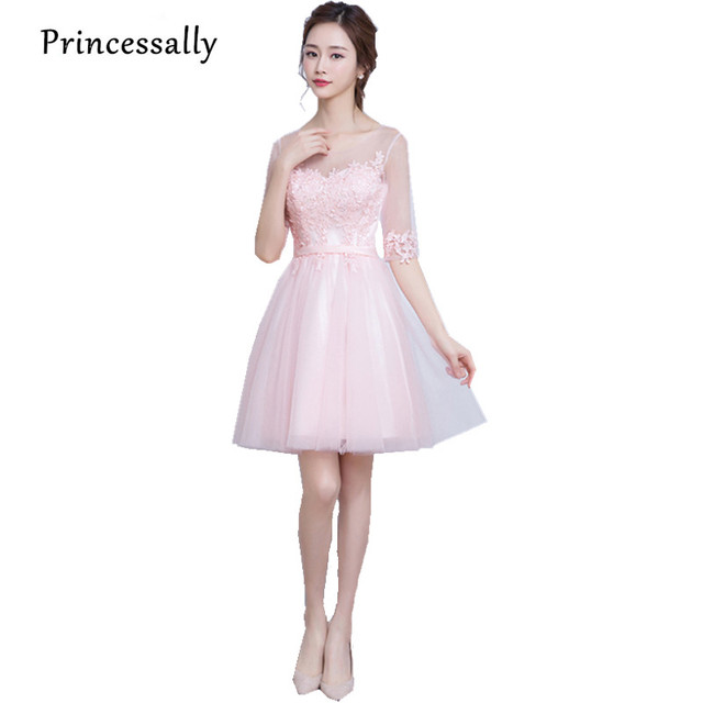 New Light Pink Bridesmaid Dresses Appliques Lace Half Sleeves Sweet ...
