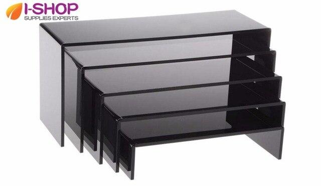 Table Jewelry Display Shelf Tray Smooth Black Acrylic Plexiglass Risers  Display Cube 1 Set / 5pcs