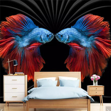Custom wallpaper HD embossed modern retro personality colored fish background wall decorative painting