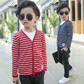 2017 Spring and autumn kid boy striped cardigan children   cotton V collar clothing jacket