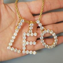 Custom Name Long Necklace Gold Collares De Moda Zircon Tennis CZ Letters Necklaces & Pendant For Men Jewelry E V A B C D M L T Y no name sport bullet l 35mm d 27mm 25гр