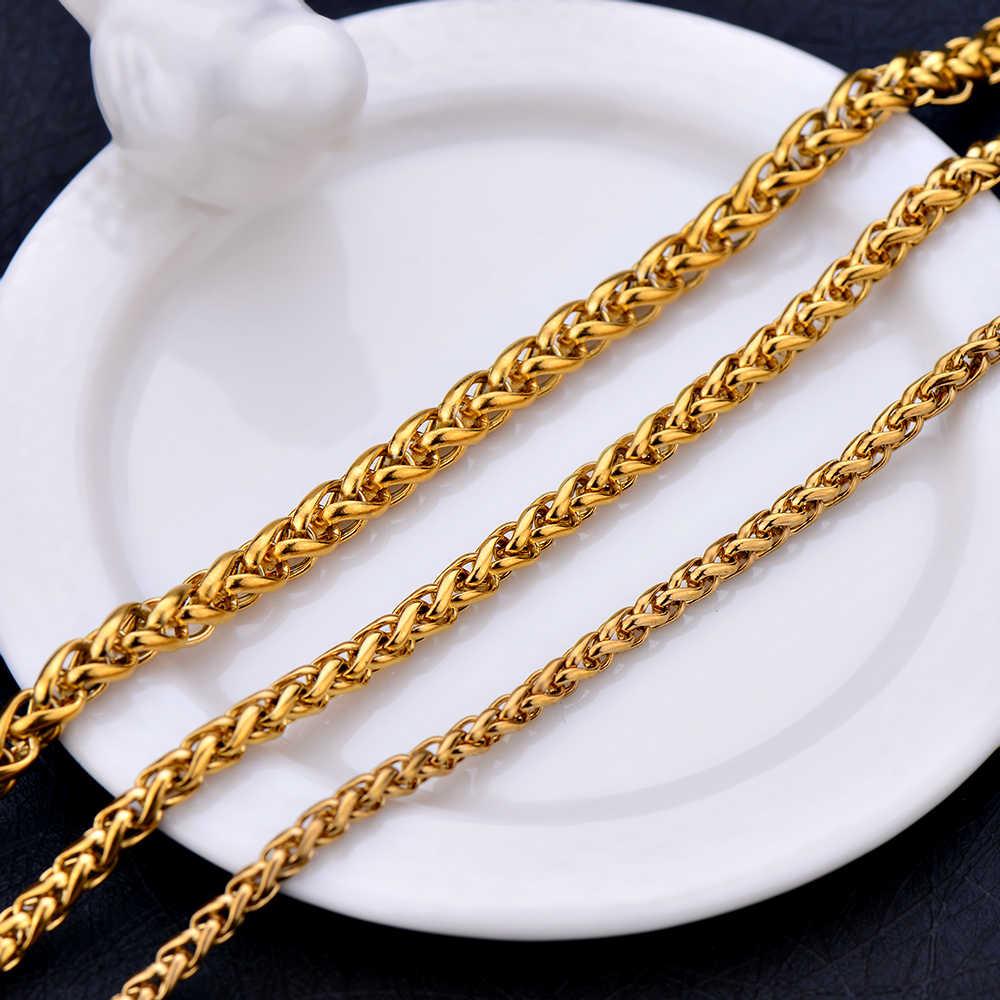 Sprzedaż hurtowa ze stali nierdzewnej złoty kolor 3 MM 4 MM 5 MM stępka została położona łańcuch naszyjnik moda biżuteria dla mężczyzn i kobiet drop shipping