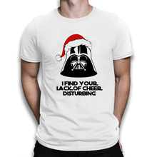 BLWHSA Summer New I Find Your Lack Of Cheer Disturbing Printed T Shirt Men Fashion Cheer Christmas Hat Brand T-shirt Slogan Tees