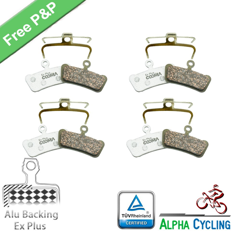 Bicycle Disc Brake Pads For SRAM Guide Ultimate, RSC, RS, R, Avid X0 Trail Elixir Trail Disc Brake, 4 Pairs, Alu-Alloy Ex Plus