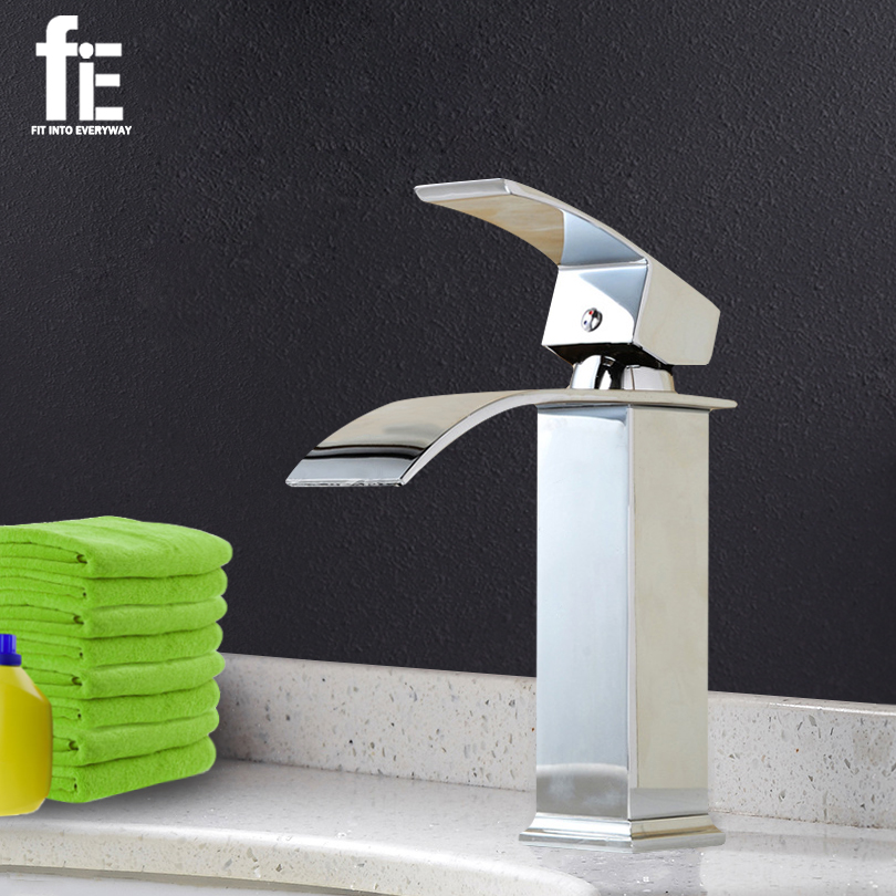 fiE Polished Chrome Brass Waterfall Bathroom Basin Faucet Square Vanity Sink Mixer Tap free shipping polished chrome solid brass material bathroom sink waterfall square faucet