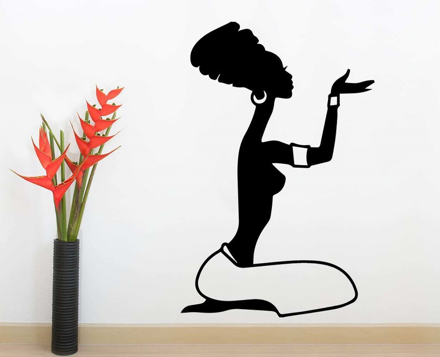 LARGE African Woman Silhouette Wall Art Vinyl Sticker Decal Mural Gift Birthday 2FZ11
