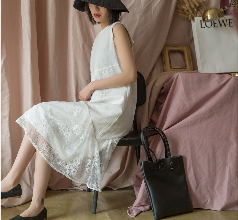 Summer Dress Women Fashion Loose Spliced Lace Dress New O Neck Sleeveless Brierf Ladies Casual Dress