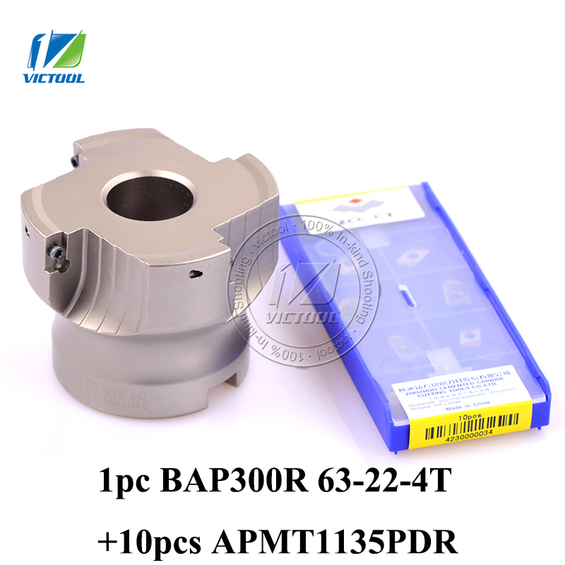 Free Shiping BAP300R-63-22-4T Milling tool with 10pcs carbide milling insert APMT1135PDR Face Mill Shoulder Cutter BAP 300R 63-2 emr 5r50 22 22mm x 50mm round dowel face mill milling cutter tool