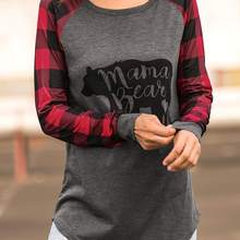 bf3b0255 FAIRY SEASON Women Autumn Full Sleeve Mama Bear Plaid O-Neck T-Shirt Casual  Female