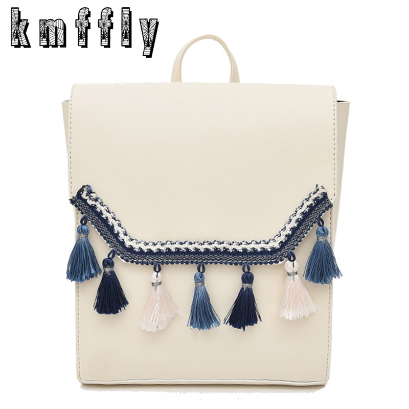 Fashion Tassel Women Backpack High Quality Youth Leather Backpacks for Teenage Girls Female School Shoulder Bag Bagpack mochila aequeen fashion leather backpack women shoulder backpacks school bag for teenage girls high quality new travel bag female