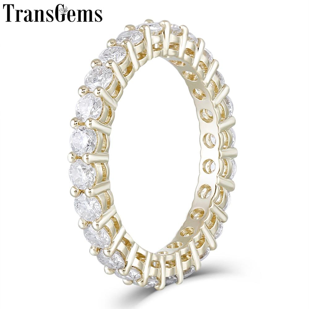 TransGems 10 K Yelllow Ouro Aliança De Casamento eternidade para As Mulheres 2.5 milímetros Moissanite F Cor Presente de Aniversário de Casamento Anel De Ouro