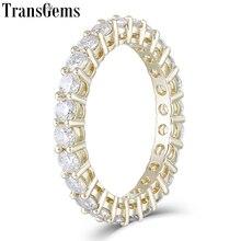 TransGems 10K Yelllow Золотая Вечность Обручальное кольцо для женщин 2,5 мм Муассанит F цвет юбилей Золотое кольцо свадебный подарок