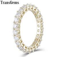 TransGems 10K Yelllow Gold Eternity Wedding Band for Women 2.5mm Moissanite F Color Anniversary Gold Ring Wedding Gift
