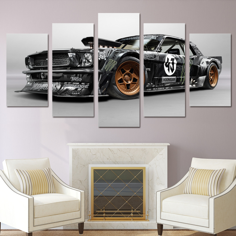 Modern Poster Home Decor Frame Wall Art Pictures For Living Room 5 Pieces Ford Mustang Rtr Car Painting Canvas HD Printed PENGDA