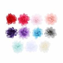 10pcs/lot 2'' DIY 11Colors Chiffon Rosettes Flowers Flat Back Hair Ornament For DIY Baby Girls Headband wedding party Accessory 10pcs lot d10 0mmx30mmx100mm 2 flutes flat 100