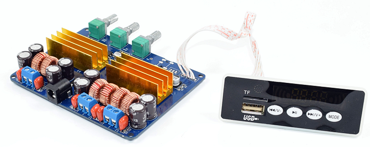 High power <font><b>TPA3116</b></font> <font><b>2.1</b></font> <font><b>Bluetooth</b></font> power amplifier board USB FM TF AUX bass board 073 image
