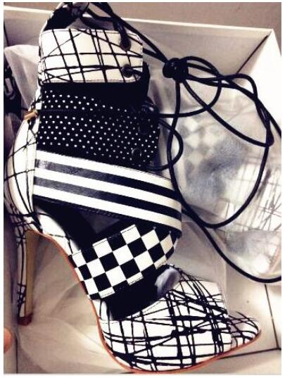 Summer New Designer Black White Peep Toe Geometric Ankle Bootie High Heel Lace-up Women Party Dress Gladiator Fashion Sandals white black new